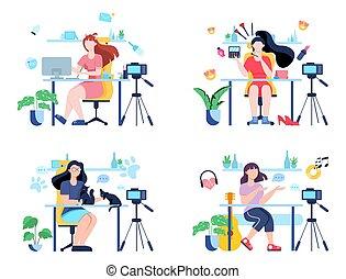 internet., conceito, blogger, parte, illustration., conteúdo