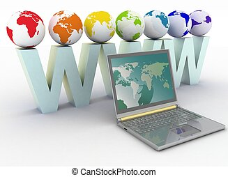Internet concept. 3d rendered illustration isolated on white background.