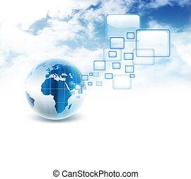 internet concept - blue planet with transparent browser...
