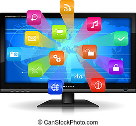 Internet concept: detailed vector illustration of widescreen...