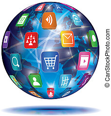 internet, concept., globe., alkalmazás, icons.