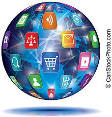 internet, concept., globe., zastosowanie, icons.