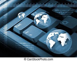 Internet concept - Keyboard, ruler, globe and binary numbers