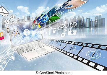 internet, concept., partage, multimédia