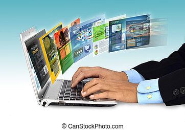 Internet Concept - Businessman hand browsing internet...