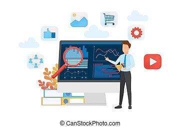 internet., concept., smm, business, publicité