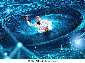 internet, concept, surmenage, dépendance, homme affaires, noyade, storm.