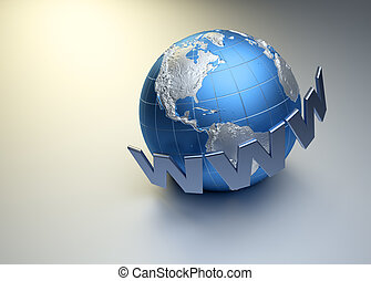 Internet concept - www word surrounding Earth globe - 3d...