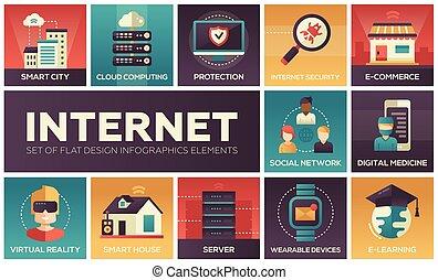 internet, -, conjunto, de, plano, diseño, infographics, elementos