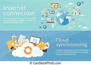 Internet Connection Cloud Synchronizing Computer Device Network Web Banner Set