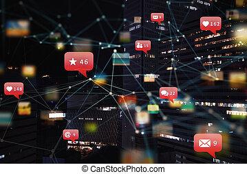 internet, connection., messages, emails., réseau, coeur, social, moderne, ville, icône