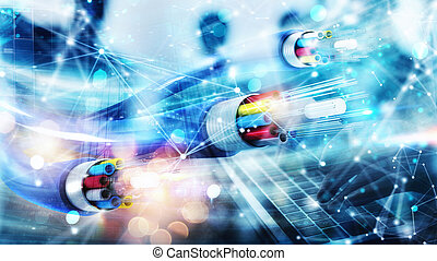 Internet connection with optical fiber. Concept of fast ...