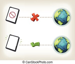 Illustration of web communication icons, symbolizing connected and disconnected state of smartphone or tablet pc device to internet