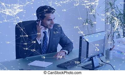 internet, conversation, homme affaires, sur