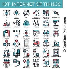 :, internet, cosas, iconos, iot, concepto