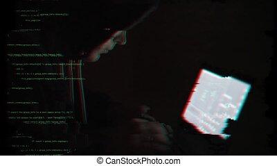 Internet crime concept. Hacker with laptop.