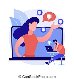 Internet criticism abstract concept vector illustration. Social media behavior, hate speech, comments and share, negative opinion, troll message, fake profile, anonymous abstract metaphor.