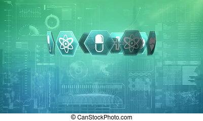 internet, cube, graphiques, icônes