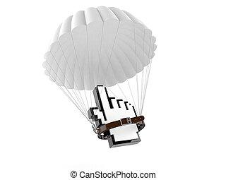 internet, cursor, con, paracaídas