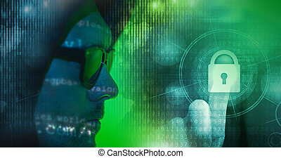 Internet Data Safety Concept with Hacker