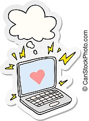 internet dating cartoon and thought bubble as a printed sticker