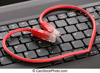 Internet dating computer keyboard and heart
