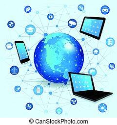 internet, de, choses, concept, et, nuage, calculer, technologie