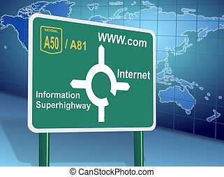 Internet directions - Traffic sign showing different...