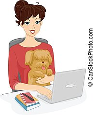 Internet Dog - Illustration Featuring a Woman Browsing the...