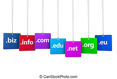 Website and Internet domain names web concept with domains sign and text on colorful hanged tags isolated on white background.