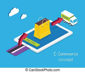 internet, e-handel, zakupy, albo, pojęcie