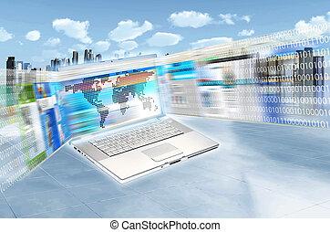 internet, e, tecnologia informatica
