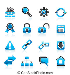internet, e, web site, ícones