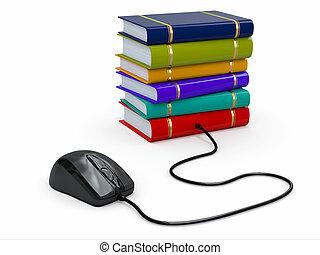 internet, education., libros, y, computadora, mouse.