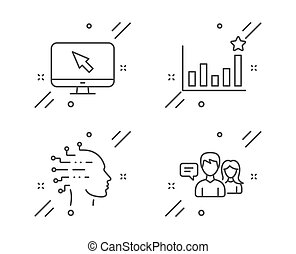 Internet, Efficacy and Artificial intelligence icons set....