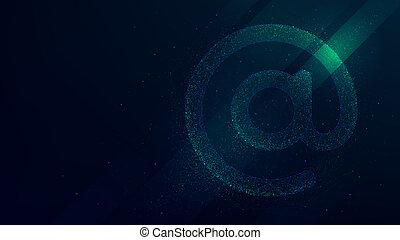 Internet email symbol vector illustration, future technology background