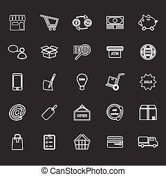 internet, empresario, línea, iconos