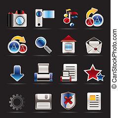 internet, en, website, iconen