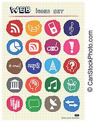 internet, et, média, icônes, ensemble
