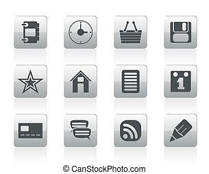 internet, et, site web, icônes