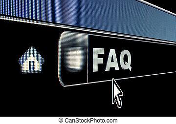 Internet FAQ Concept - FAQ concept on an internet browser ...