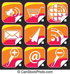 internet, farverig, iconerne