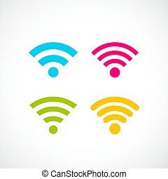 internet fili, colorito, icona