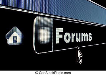 Forums concept on an internet browser URL address
