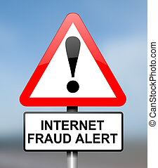 Internet fraud concept. - Illustration depicting red and...