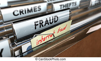 Internet Fraud, Online Scams - Close up on a file tab with...