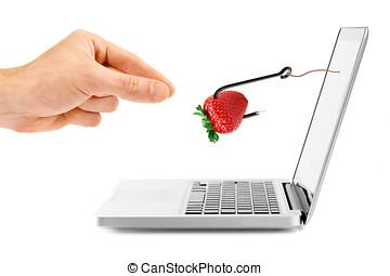 internet, fraude, concept., gancho, con, cebo, por, computador portatil, pantalla