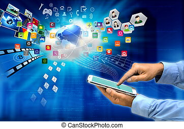 Internet Gadget - Conceptual image of a tablet user connect ...