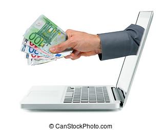 internet, ganancias, concepto, -, mano, con, dinero, salir, de, computador portatil, pantalla