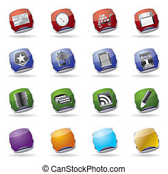 internet glass vector icon set